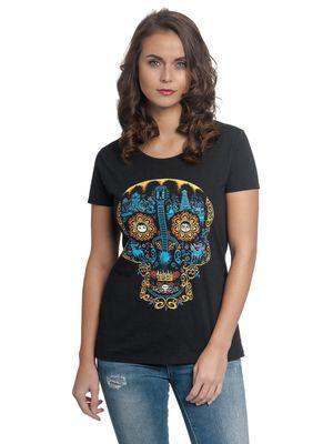 Coco Blue Skull Damen T-Shirt Schwarz – Bild 0