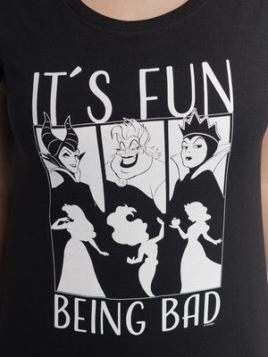 Villains It's Fun Being Bad Damen Shirt Schwarz – Bild 3