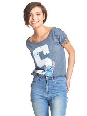 Lilo & Stitch 626 Stitich Loose Shirt blau-meliert – Bild 1