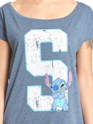 Lilo & Stitch 626 Stitich Loose Shirt blau-meliert – Bild 2
