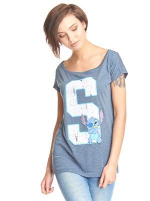 Lilo & Stitch 626 Stitich Loose Shirt blau-meliert – Bild 0