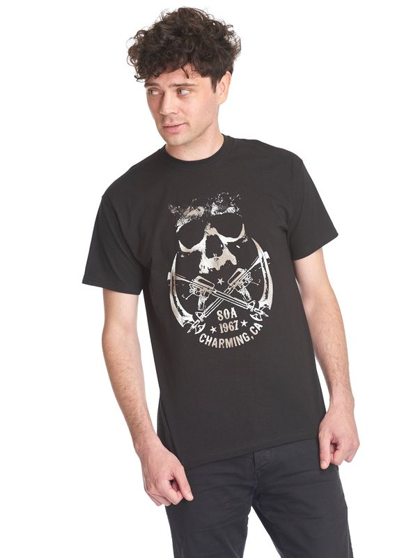 Sons of Anarchy SOA Skull & Sickle Herren T-Shirt Schwarz Ansicht