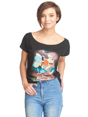 Alice in Wonderland Late Damen T-Shirt Schwarz – Bild 0
