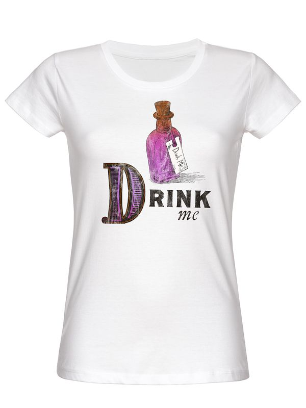 Alice in Wonderland Drink Me Girl Tee White – Bild 5