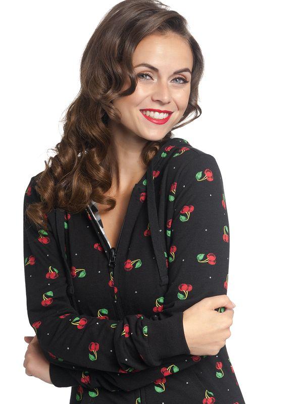 Pussy Deluxe Vichy & Cherries Reversible Jacket black allover – Bild 6