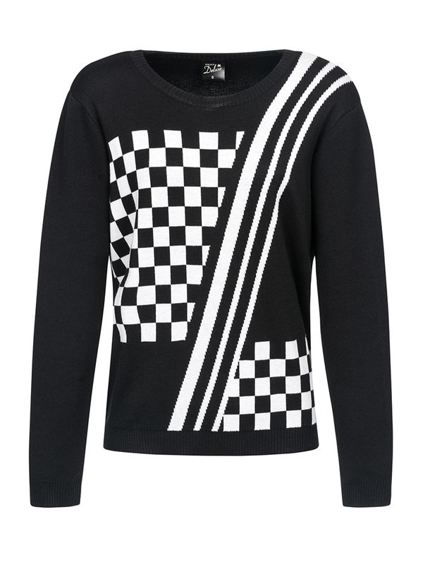 Pussy Deluxe Checkered Knit Pullover schwarz/white view