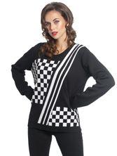 Pussy Deluxe Checkered Knit Pullover schwarz/white – Bild 0