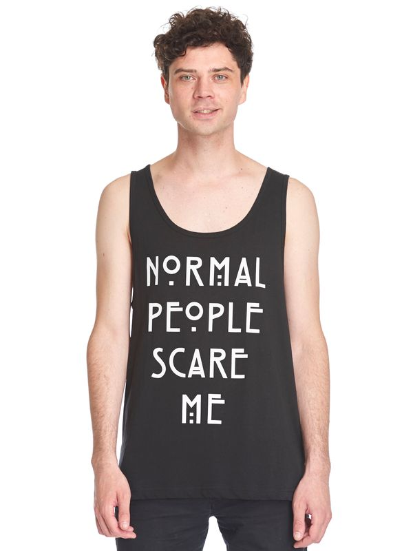 American Horror Story Normal People Scare Me Sleeveless Men Tee Shirt black view
