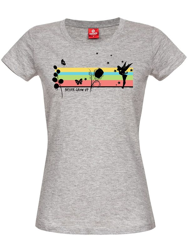 Tinkerbell Rainbow tee for women gray melange view