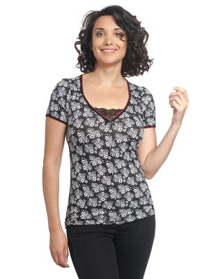 Vive Maria Sweet China Flower Shirt schwarz allover – Bild 0