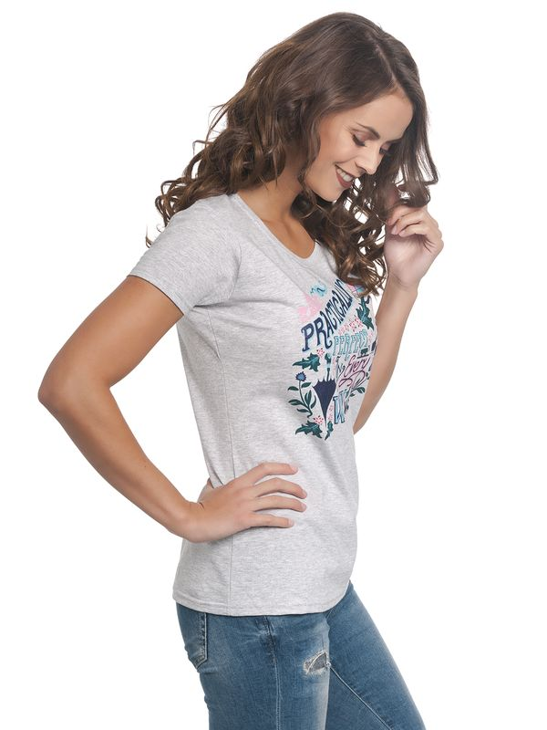 Mary Poppins Practically Perfect Tee for Women Gray Melange – Bild 3