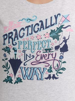 Mary Poppins Practically Perfect Damen Shirt grau-meliert – Bild 3