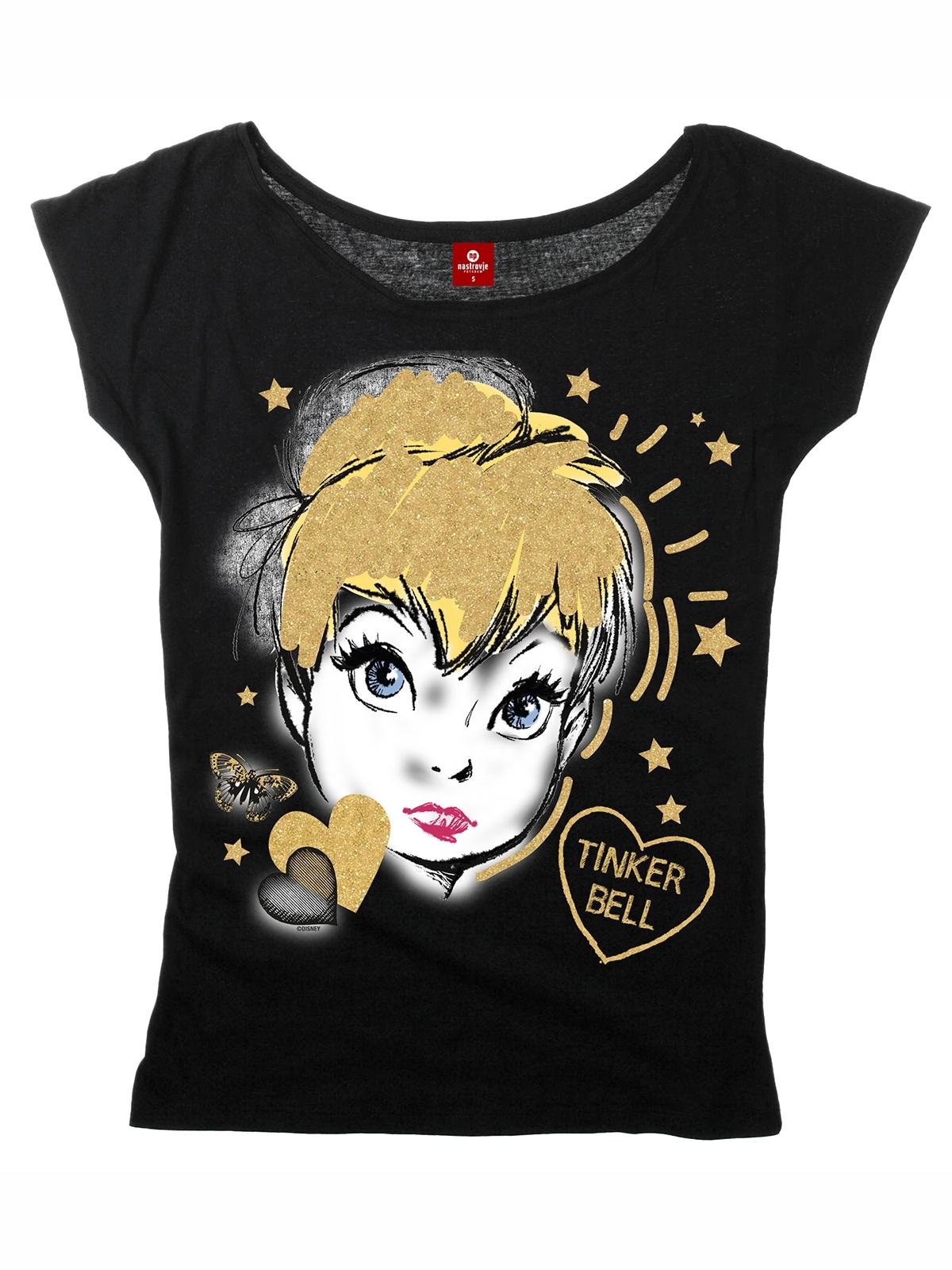 Oberteile für Frauen - Tinkerbell Golden Tink Girl Loose Shirt schwarz  - Onlineshop NAPO Shop