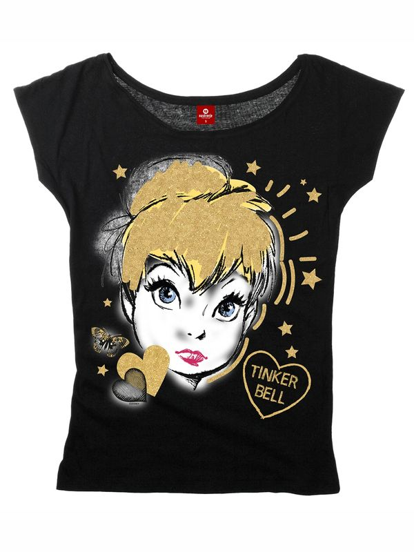 Tinkerbell Golden Tink Girl Loose Shirt schwarz Ansicht