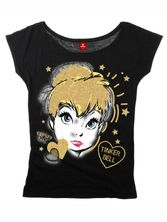Tinkerbell Golden Tink Girl Loose Shirt schwarz