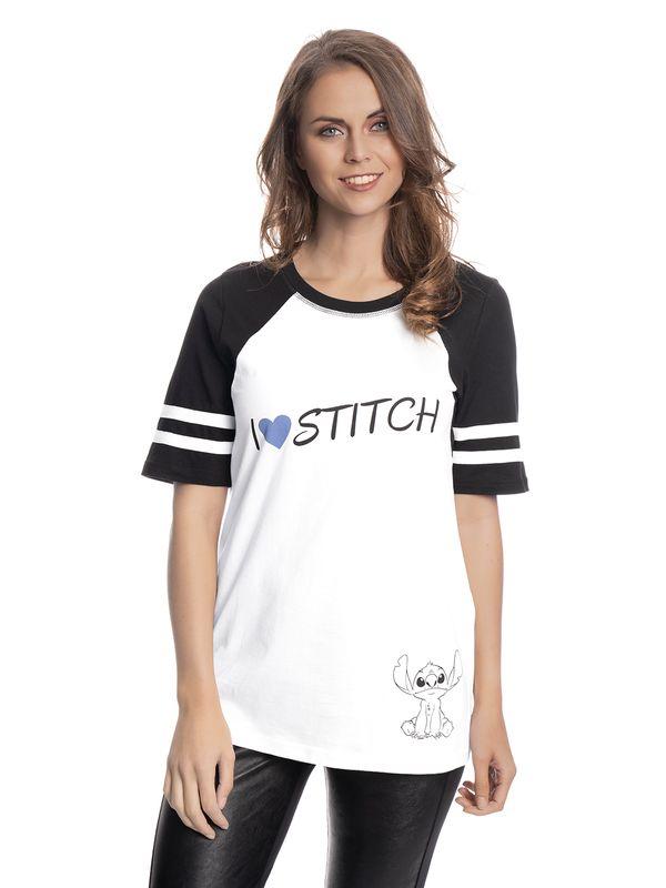 Lilo & Stitch I Heart Stitch Raglan Girl Shirt weiss/schwarz – Bild 1