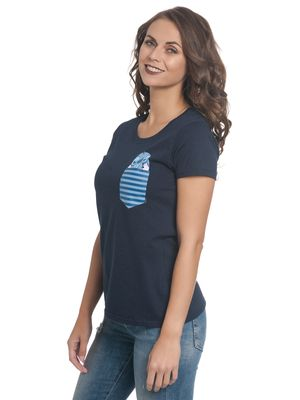 Lilo & Stitch New Pocket Stitch Damen T-Shirt Blau – Bild 2