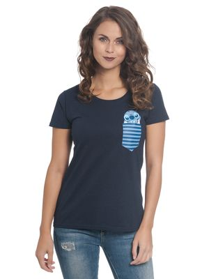 Lilo & Stitch New Pocket Stitch Damen T-Shirt Blau – Bild 0