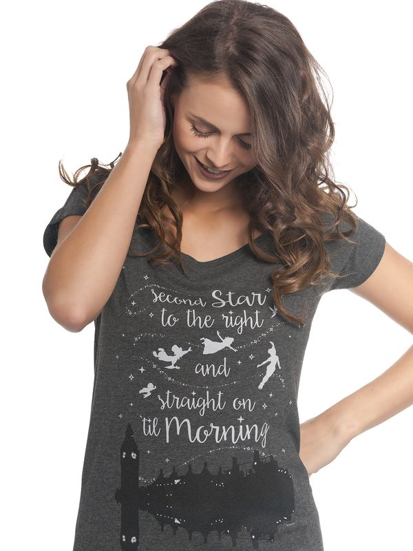 Peter Pan Neverland Second Star Tee for women gray melange view