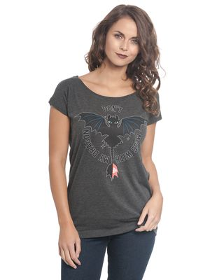 Dragons Don't Mess Damen Loose Shirt grey-meliert – Bild 0
