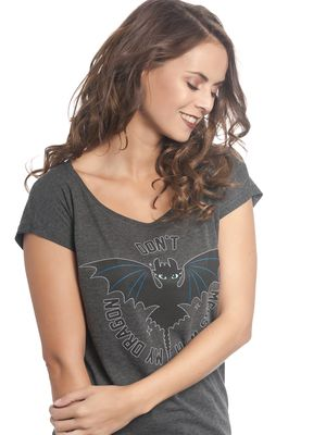 Dragons Don't Mess Damen Loose Shirt grey-meliert – Bild 1