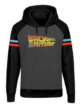 Back To The Future Logo Raglan Hoodie for  Men Gray melange black