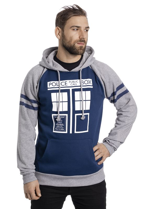 Doctor Who Dr. Who Tardis Raglan Hoodie grey-melange/blue view