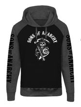 Sons of Anarchy Reaper Raglan Hoodie black/grey-mel. – Bild 0