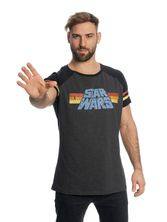 Star Wars 77 Raglan T-Shirt grey-mel./black – Bild 1
