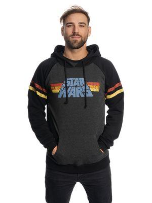 Star Wars 77 Raglan Männer Raglan Kapuzensweatshirt grau-meliert/schwarz – Bild 1
