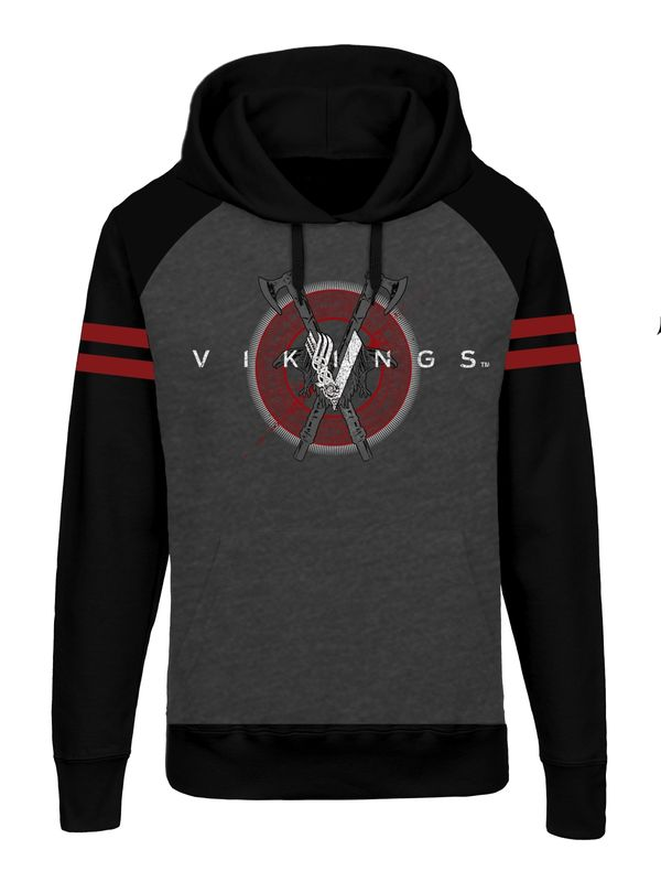 Vikings Axe Logo Raglan Hoodie grey-mel./black view
