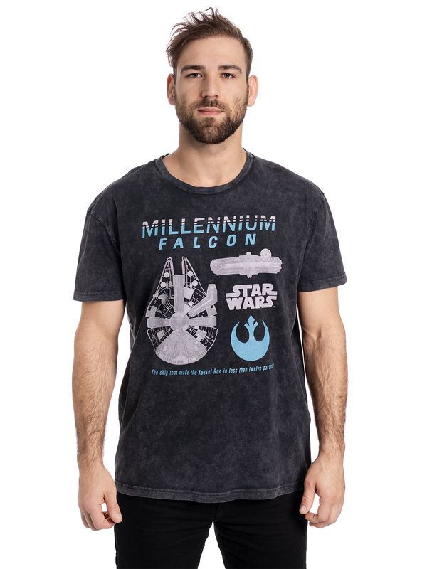 Star Wars Fastes Ship Batik T-Shirt grau Ansicht