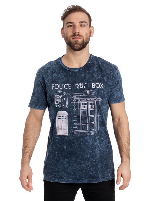 Dr. Who Police Box Blueprint Batik Tee blue view