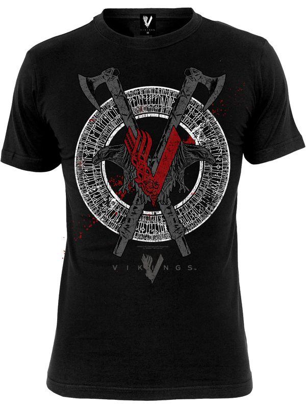 Vikings Odin Red Men's Tee black view