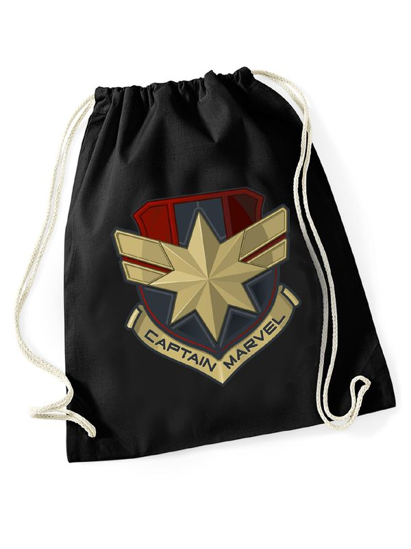 Captain Marvel Logo Gym bag Turnbeutel schwarz Ansicht