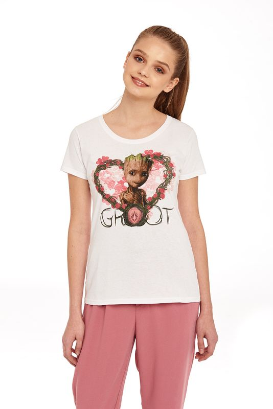 Guardians of the Galaxy Groot Heart Flowers Girl Shirt weiss Ansicht