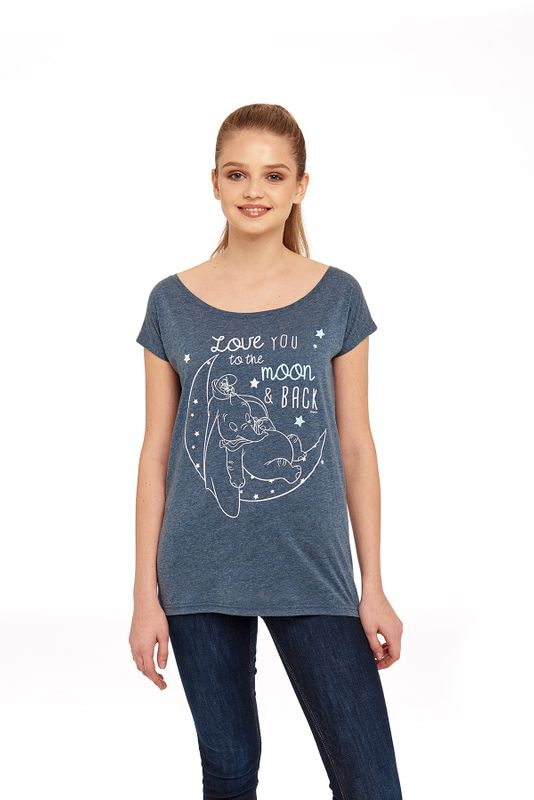 Dumbo Love You To The Moon Loose Girl Shirt blau-meliert Ansicht