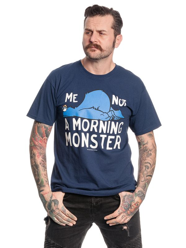 Sesamstrasse Me Not A Morning Monster T-Shirt navy Ansicht