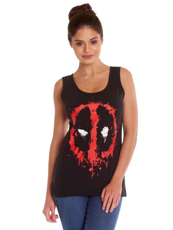Deadpool Splatter Logo Girl Top Black view