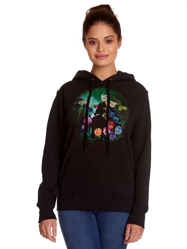 Alice in Wonderland Black Flower Frauen Kapuzenpullover schwarz Ansicht