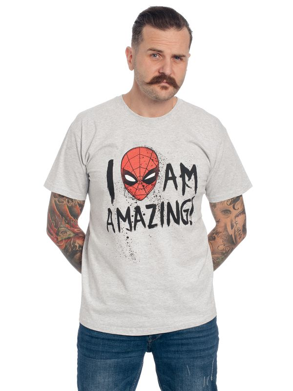 Spiderman I Am Amazing T-Shirt grau-meliert Ansicht