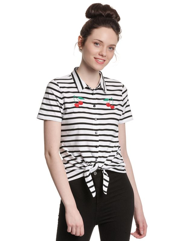 Pussy Deluxe Revival Stripes Short Girl Blouse black/white Ansicht