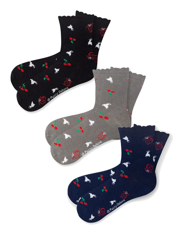 Pussy Deluxe Cherry Logos & Cats 3 Pack Socks mulicolour Ansicht