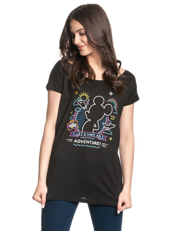 Disney Mickey Mouse Neon Adventure Girl Loose Shirt black view