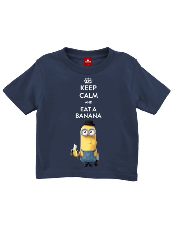 Minions Keep Calm Kinder T-Shirt marine-blau