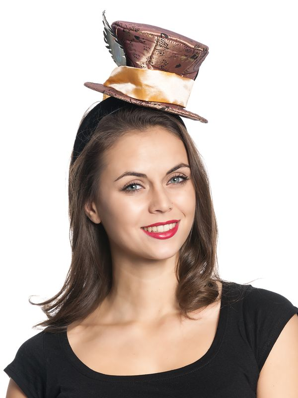 Alice in Wonderland Mad Hatter Fascinator brown – Bild 1