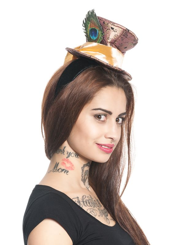 Alice in Wonderland Mad Hatter Fascinator brown – Bild 5