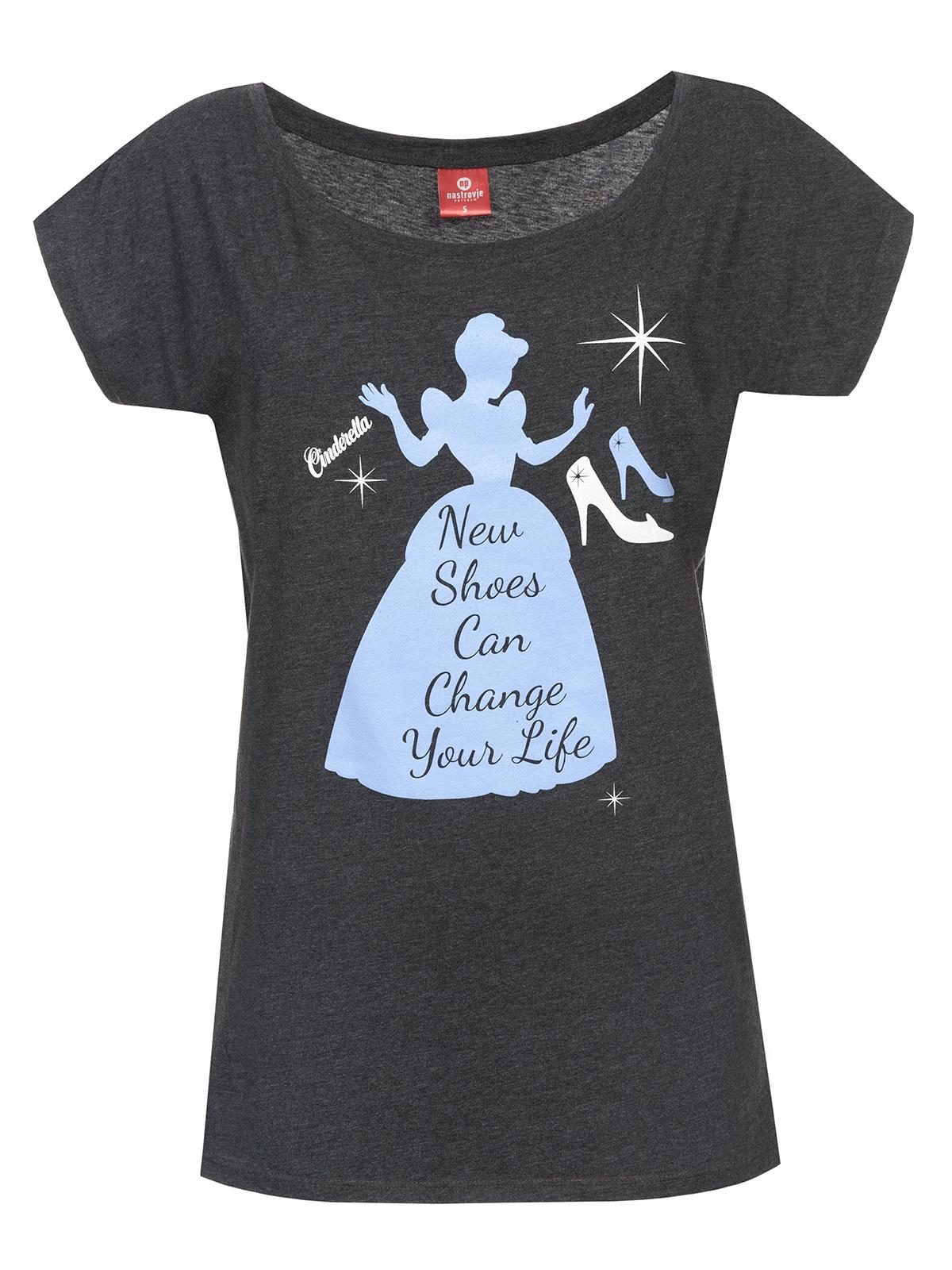 disney cinderella new shoes girl shirt frauen t shirt grau. Black Bedroom Furniture Sets. Home Design Ideas