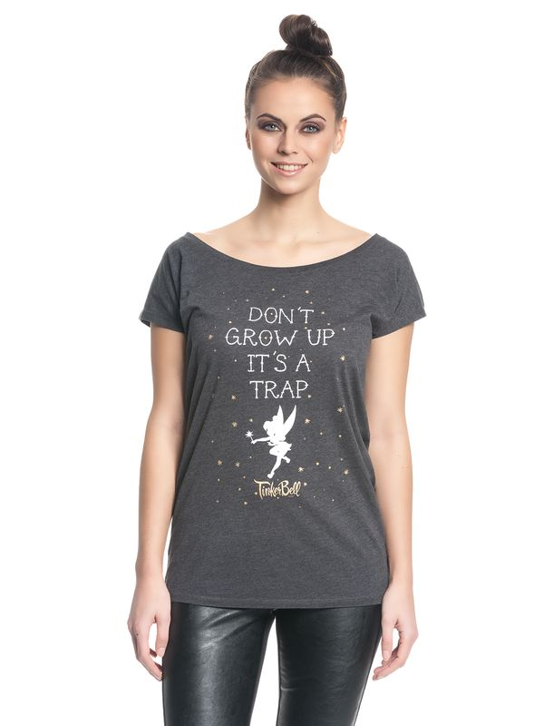 Disney Tinkerbell Don't Grow Up Girl Shirt Frauen T-Shirt grau-meliert – Bild 1