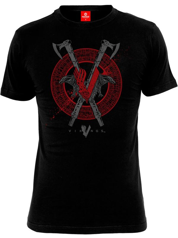 Vikings Axe & Raven Male T-Shirt black – Bild 0